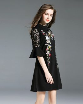 Chiffon embroidery Flare Sleeve Street wear Knee-Length Dress