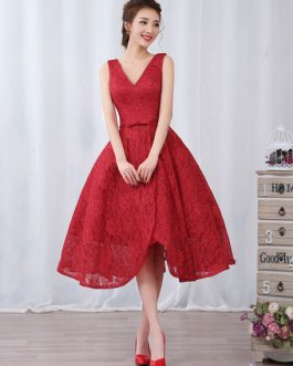 Cocktail Lace V Neck Short Bow Sash Backless Prom Party Dresses