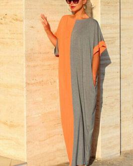 Color Block Oversized Cotton Dress