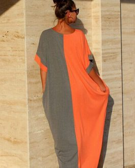 Color Block Oversized Cotton Dress