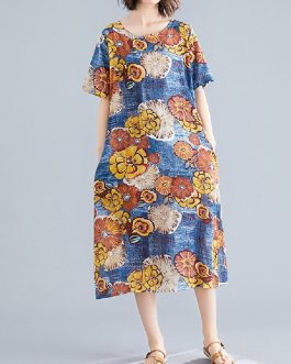 Crew Neck Floral Print Short Sleeve Vintage Dress