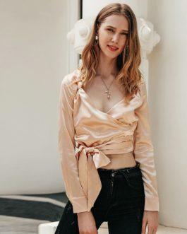 Deep V Sexy Wrap Satin Shirts