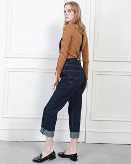 Denim Pant with Straps High Waist Loose Comfort Jeans