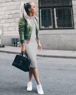 Drawstring Pullover Slim Bodycon Dresses Vestidos