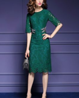 Elegant Dragonfly Beading Hollow Out Lace Office