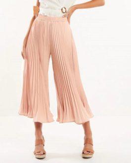 Elegant Elastic Mid Waist Chiffon Pants
