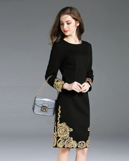 Elegant Embroidery O-neck slim office lady short Dress