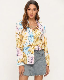 Elegant Floral Print Office Leisure Blouse