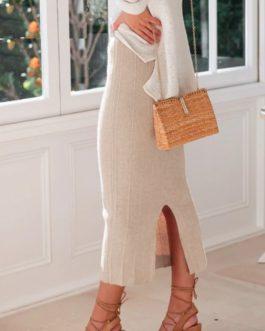 Elegant High Waist Knitted Skirts