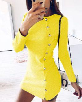 Elegant O Neck Button Long Sleeve Dress