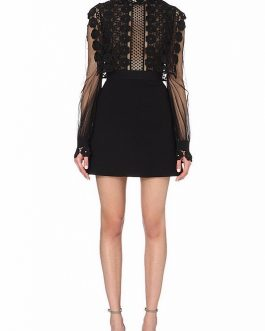 Elegant Patchwork Mesh Mini Dresses