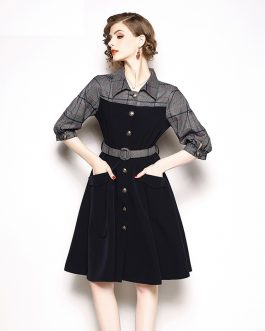Elegant Patchwork Plaid office work short dress