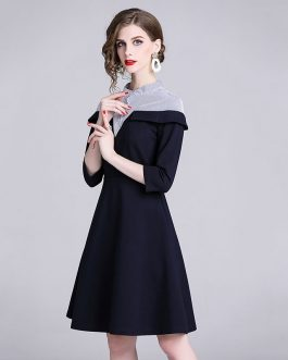 Elegant Striped Patchwork office work party dress