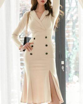 Elegant V Neck Bodycon Office Dress