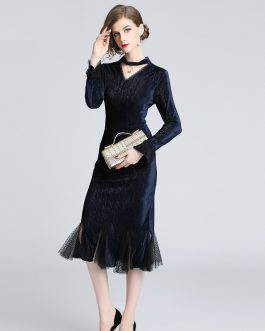 Elegant lace Vintage Velve party Trumpet dress