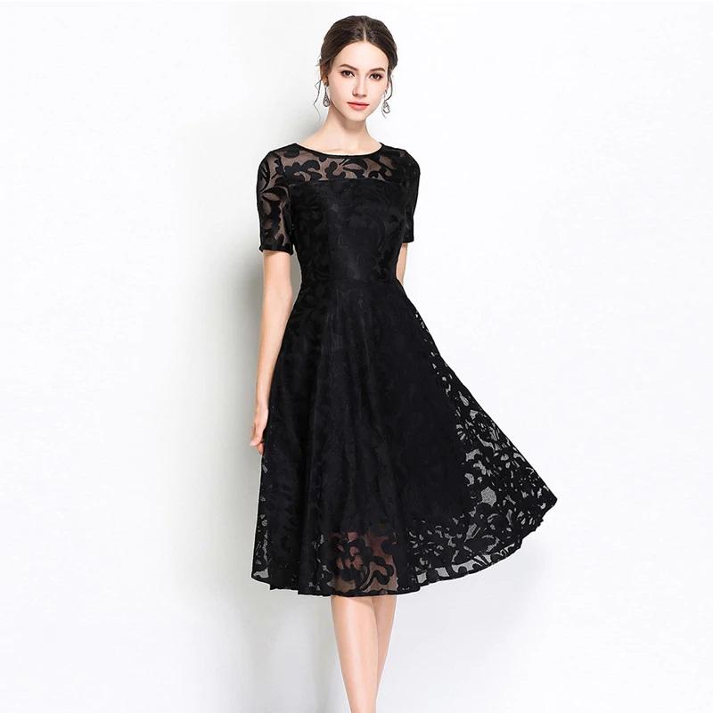 Elegant lace embroidery Vestidos Plus size party Dress