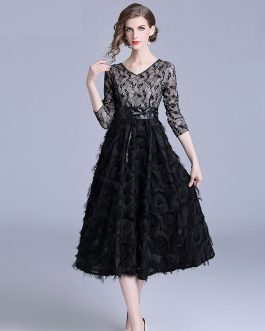 Elegant lace office work midi dress