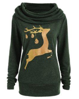 Elk Deer Print Cowl Neck Pullover Sweatshirt