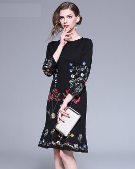 Embroidery evening party Floral Vintage short dress
