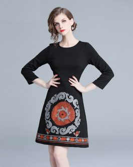 Embroidery evening party Slim Vintage short dress