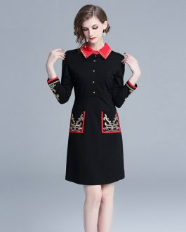 Embroidery evening party Vintage mini dress