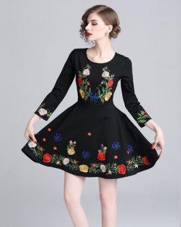 Embroidery evening party Vintage short dress