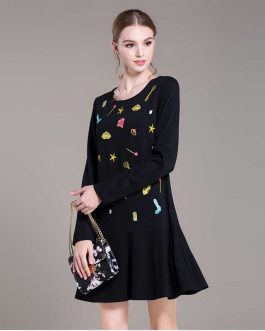 Embroidery office lady Plus size Knee-Length Dress