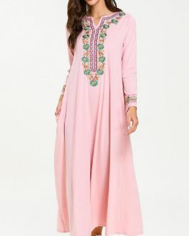 Ethnic Embroidery Long Sleeve Vintage Dress