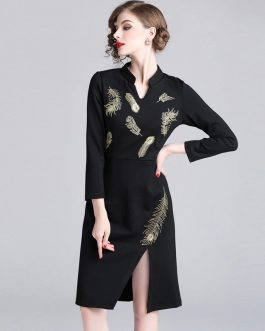 Evening party Vintage Embroidery short office dress