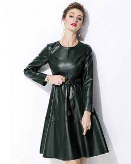 Evening party fur Leather short party Dress