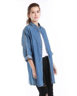Oversize Long Loose Casual 3/4 Length Sleeve Denim Fancy Shirt