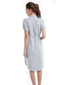 Denim Fancy Long Loose Casual Striped Short Sleeve With 2 Pockets Short Dress