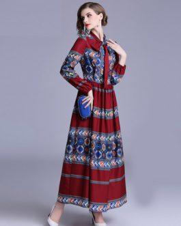 Fashion Bow Pleated Maxi dress