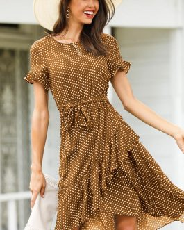 Fashion Flare Sleeve Ruffles Irregular Sundress