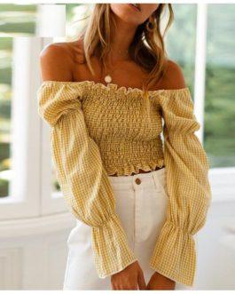 Fashion Puff Sleeve Plaid Crop Top