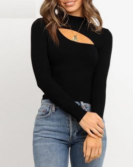 Fashion Sexy Long Sleeve Elastic Knitted Tops