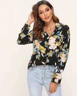 Fashion Turn-down Collar Long Sleeve Blouse