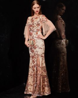 Floral Embroidered Champagne Half Sleeve Mermaid Prom Dress