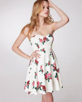 Floral Printed Party Strapless Mini Dress