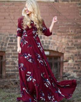 Flower Printed Sleeved Long Dress