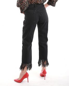 Casual Frayed Botton Straight Medium Waist Denim Jeans