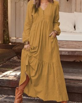 Frog Button V-neck Long Sleeve Maxi Dress