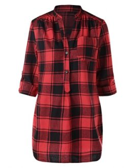 Front Pocket Half Button Tartan Blouse