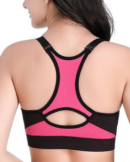 Front Zipper Shockproof Race Back Professional Training Padded Sports Bra