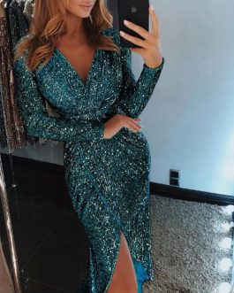 Glitter Sequined Sexy V-neck Long Sleeve Bodycon Dress