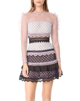 Hollow Out Cake Colorful Lace Dress