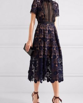 Hollow Out Patchwork Sexy Lace Dress