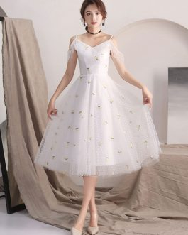 Homecoming Flowers Straps Tea Length Cocktail Party Dress