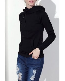 Hooded Long Sleeve Drawstring Solid Color Hoodie