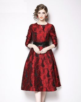 Jacquard Vintage long sleeve  party dress